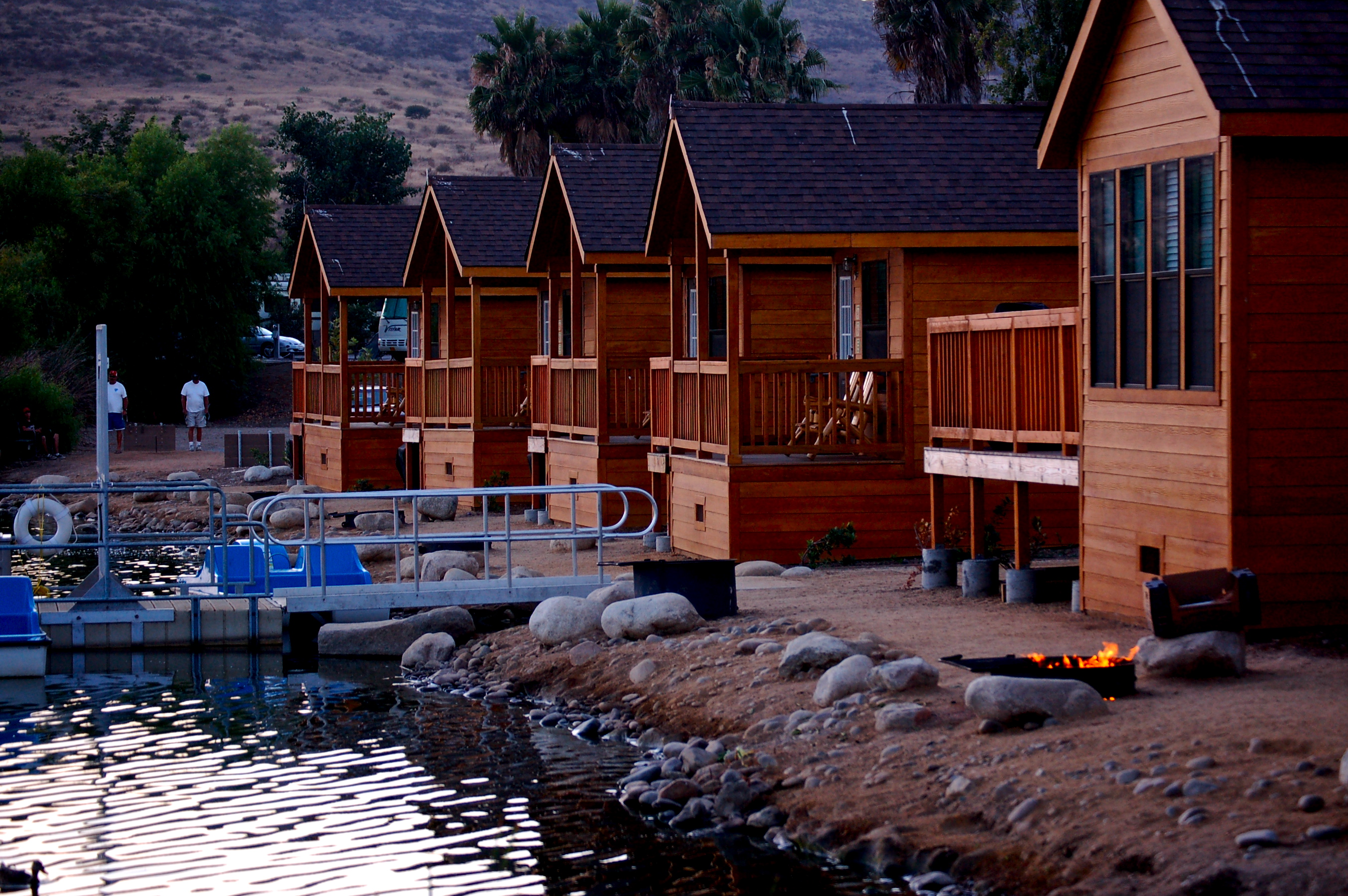 Cabins at twilight