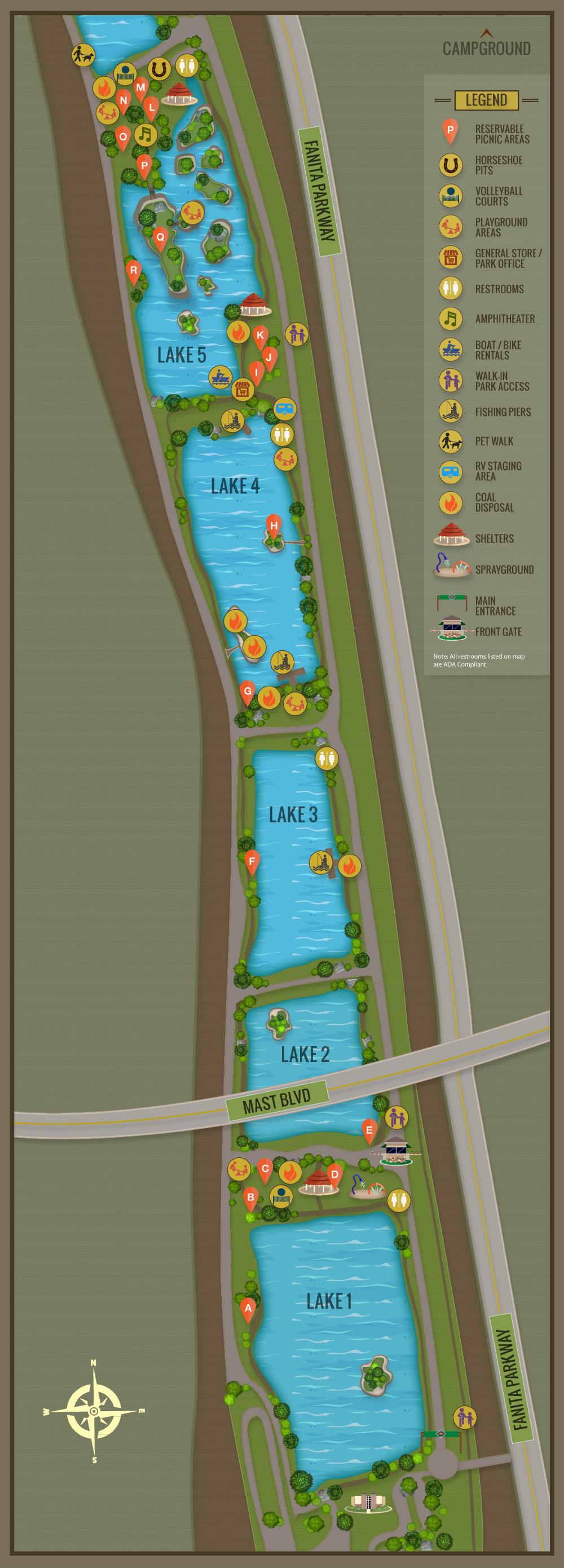 Campsite Map Santee Lakes