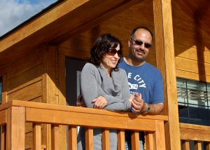 Couple at cabin