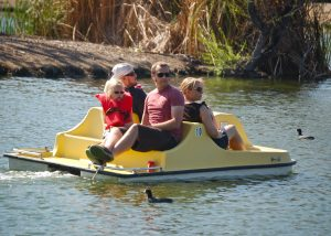 relaxing in pedal boat