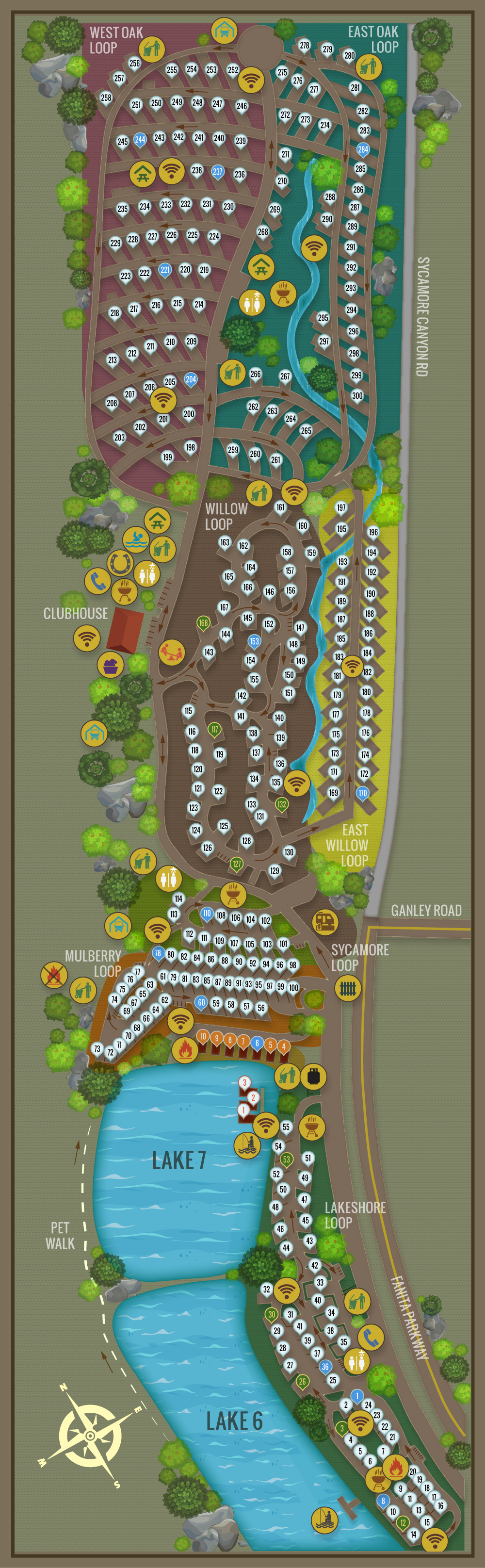 Campsite Map New - Santee Lakes