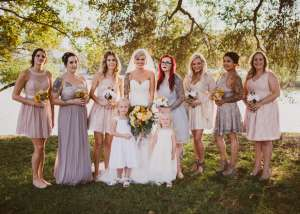 Beautiful bridal party by the Lake.