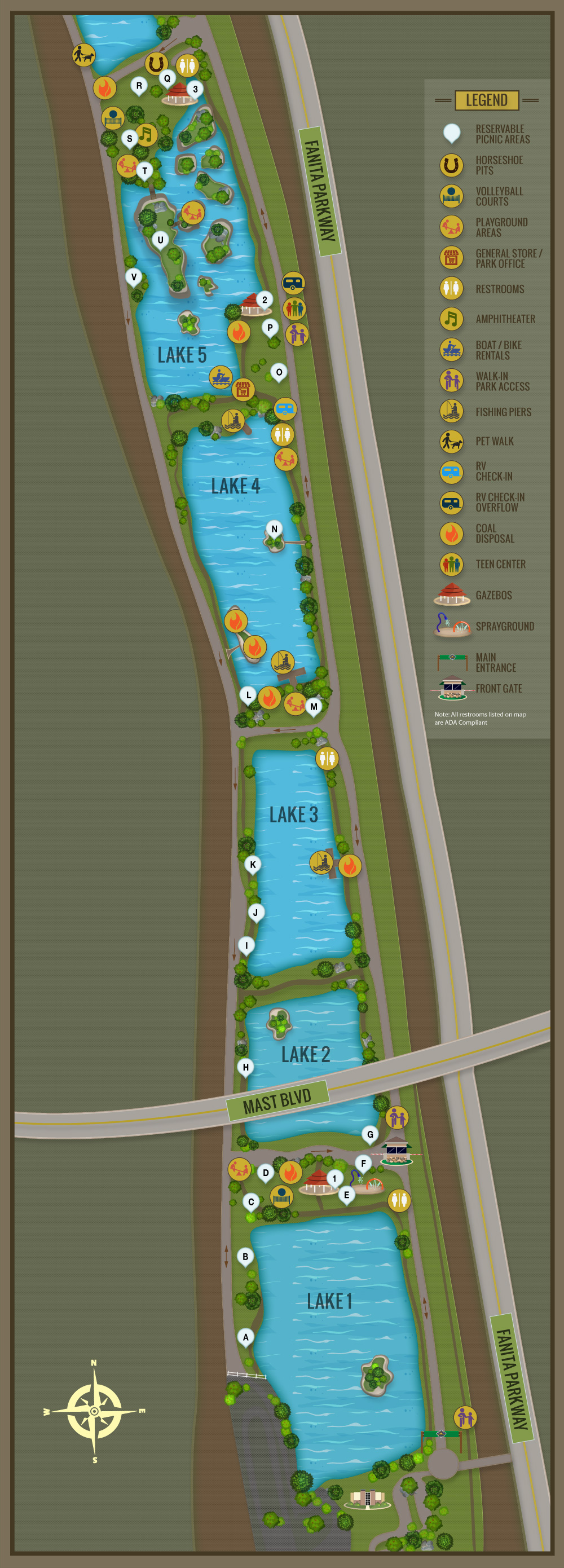 Day Use Map New - Santee Lakes
